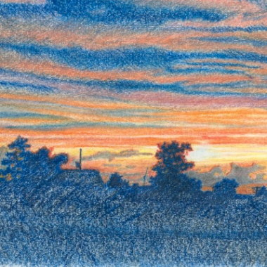 Sunset, . Pencil drawing by Katerina Wood