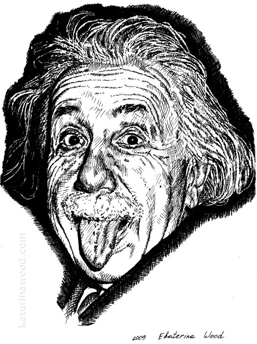 Albert Einstein, the famous portrait, . Pencil drawing by Katerina Wood