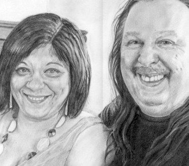 Adam's parents, framed with mount. Pencil drawing by Katerina Wood