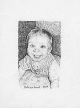 Natasha mini, <b>mini portrait</b>. Pencil drawing by Katerina Wood