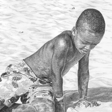 Barbados beach, . Pencil drawing by Katerina Wood