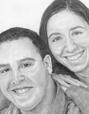 Adam's family, with the mount and frame. Pencil drawing by Katerina Wood