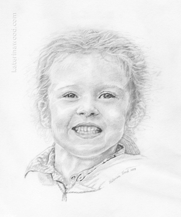 Wind Swept, Christmas present. Pencil drawing by Katerina Wood
