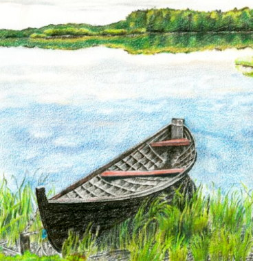 Boat on the Syamozero lake, . Pencil drawing by Katerina Wood