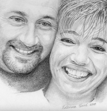 Family portrait, . Pencil drawing by Katerina Wood