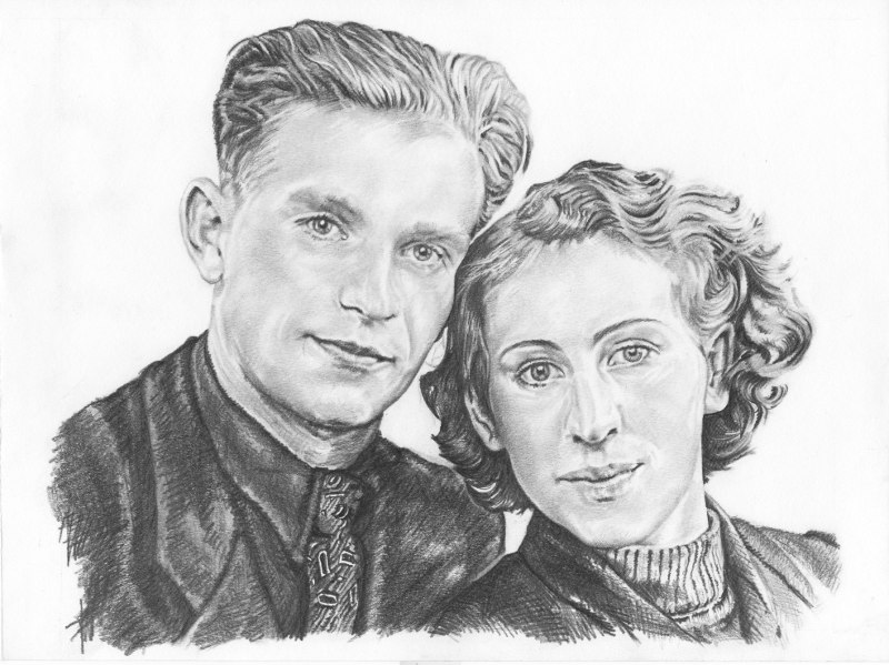 Grandparents in 1954, . Pencil drawing by Katerina Wood