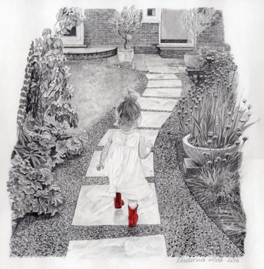 Lilly in red boots, . Pencil drawing by Katerina Wood